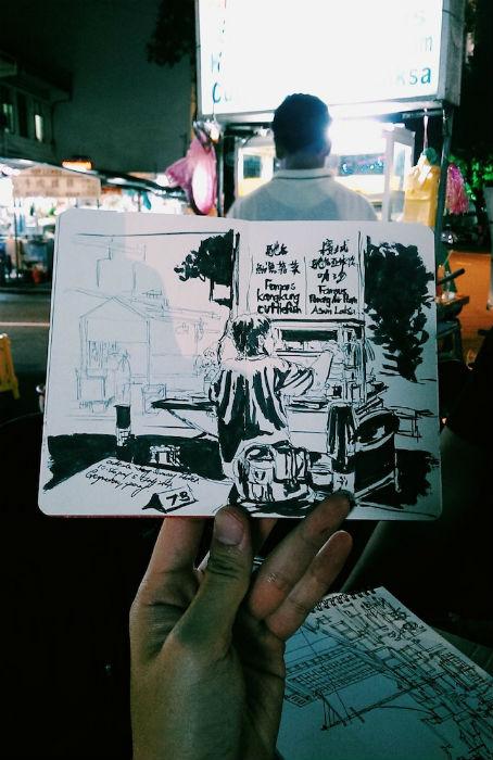 Зарисовки из путешествий сингапурского художника