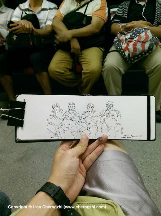 Наброски из молескина сингапурского художника