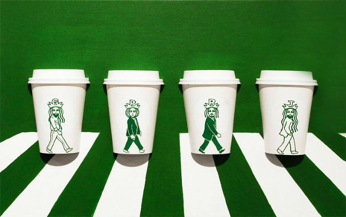 Забавные фантазии художника на тему известного логотипа Старбакс