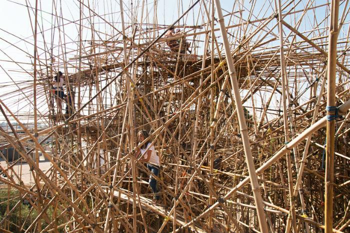 Big Bambu - масштабная пространственная композиция из бамбука в Иерусалиме