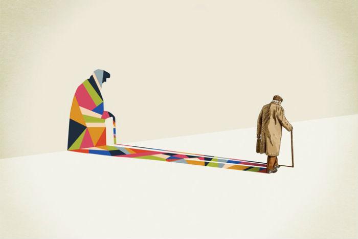 В рамках проекта «Гуляющие тени» дизайнер Джейсон Рэтлифф преобразует тени людей, животных и предметов в яркие узоры