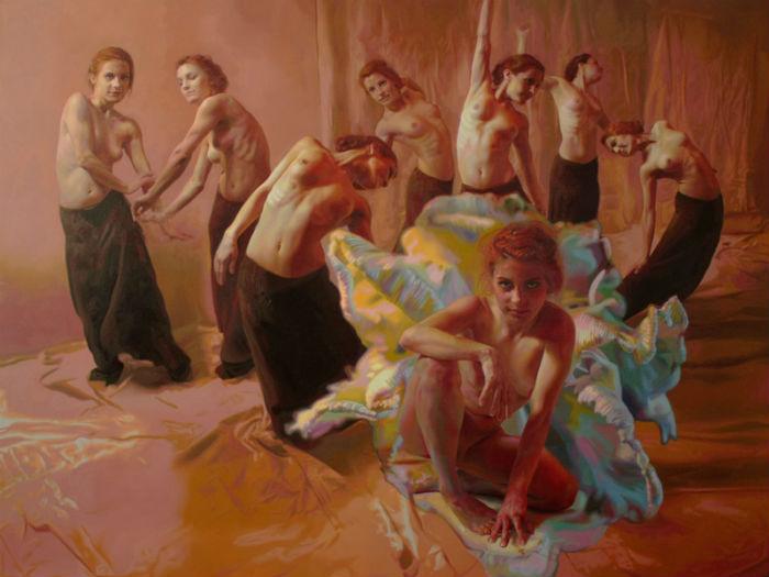 Художница работает в стиле фигуративного реализма, основной её темой является обнажённая натура