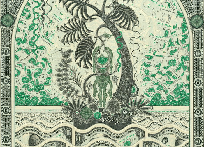 уникальные долларовые коллажи от художника Mark Wagner