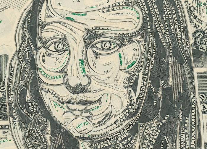 Долларовые коллажи в интерьере
