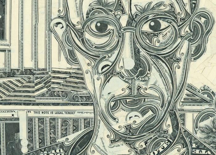 детальные долларовые коллажи автора Mark Wagner