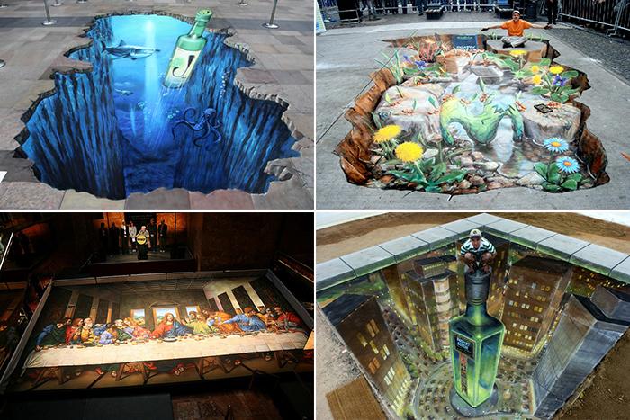 Обзор фантастических 3d-картин, нарисованных мелом на асфальте