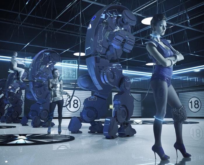 Красочные 3D-роботы в стиле ретрофутуризм