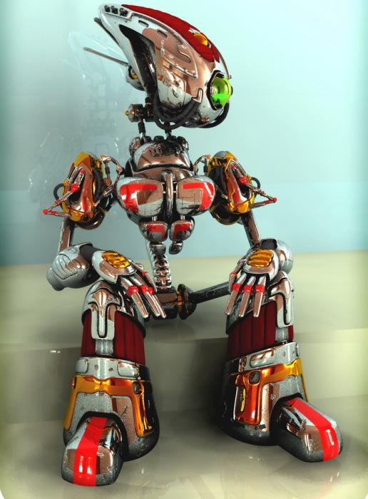 стильные 3D-роботы в стиле ретрофутуризм