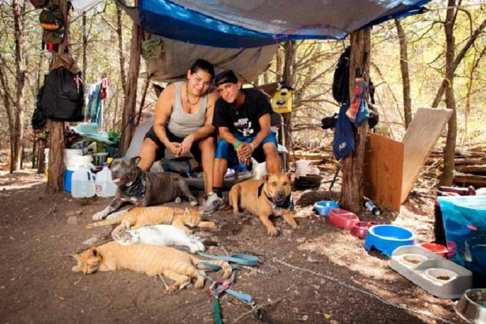 Бездомные с домашними питомцами.