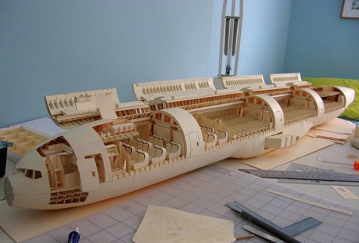 Бумажная репродукция самолета Boeing 777 в масштабе 1:60