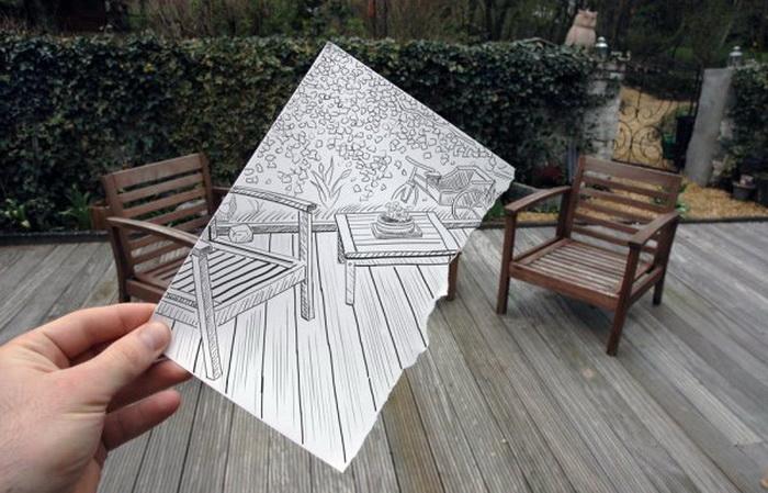 Коллекция оригинальных рисунков от Ben Heine: карандаш против камеры