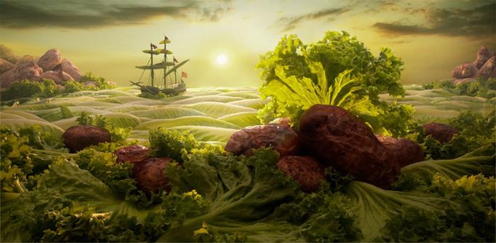 морская прогулка по листьям салата: Carl Warner
