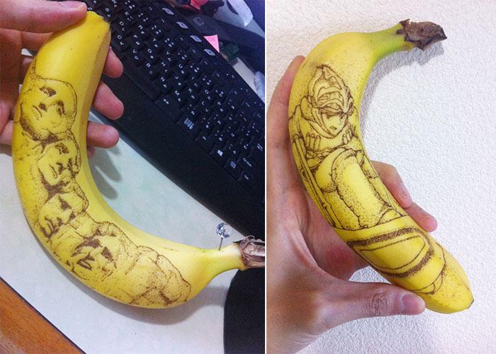 Рисунки на банановой кожуре