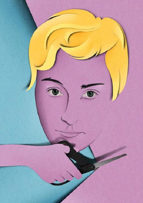 Портреты из цветной бумаги.