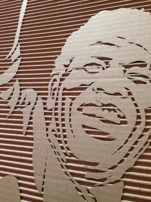 Портреты на гофрированном картоне художника Elliot Frantz