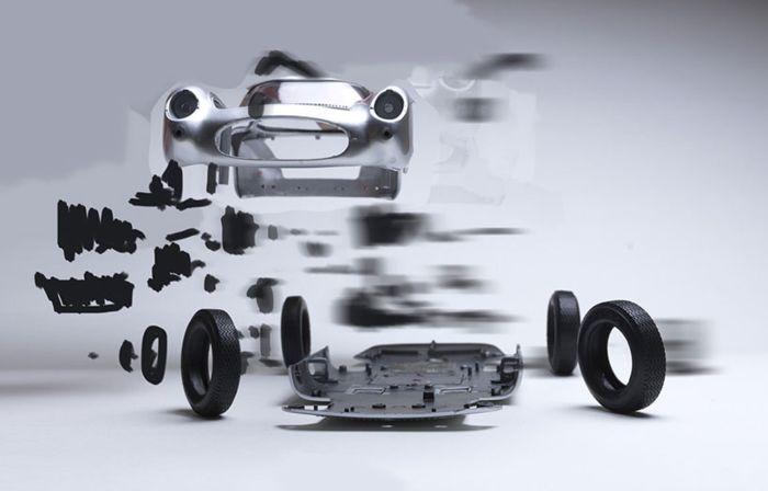 Автомобили в момент взрыва от художника Fabian Oefner