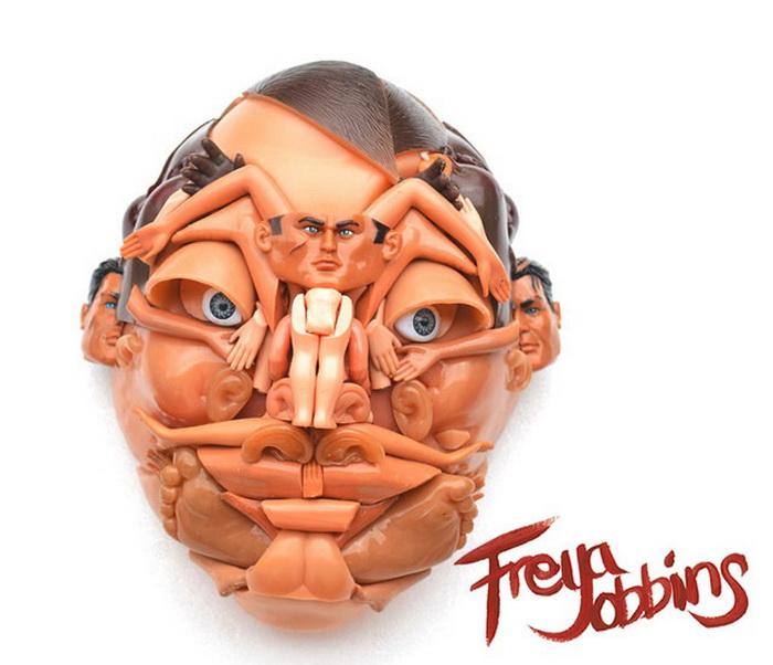 произведения искусства из старых кукол от Freya Jobbins