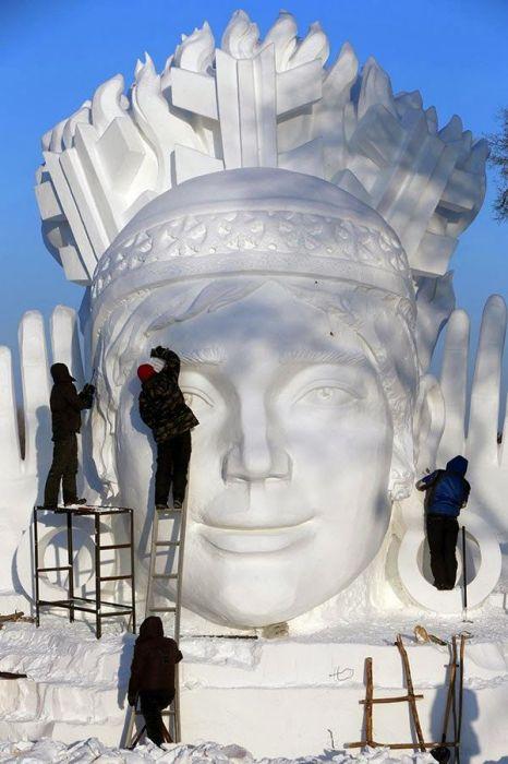 Фестиваль снежных скульптур в Китае