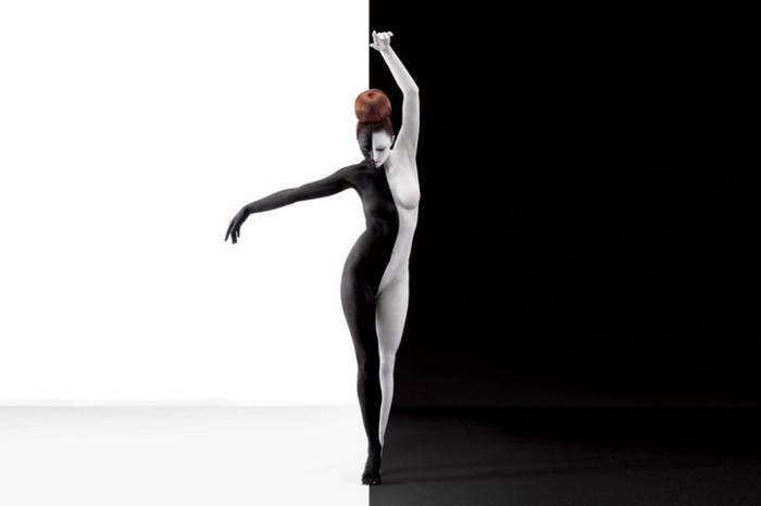 Черно-белый бодиарт от Jessica Walsh