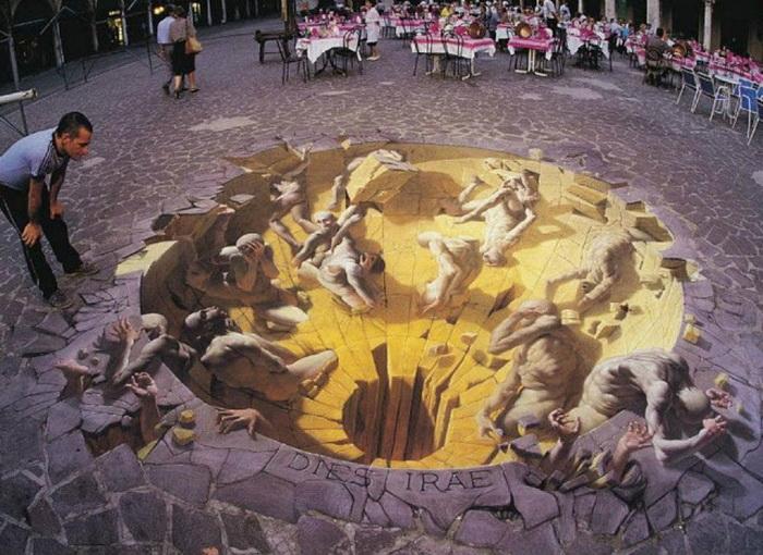 трехмерная картина на асфальте Julian Beever