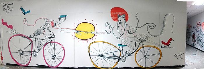 Красочные велосипеды от уличного художника Mart
