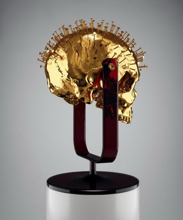 золотой череп из коллекции «Skull-ptures» от скульптора Hedi Xandt