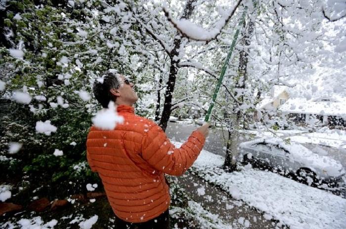 Весенний снег в США.