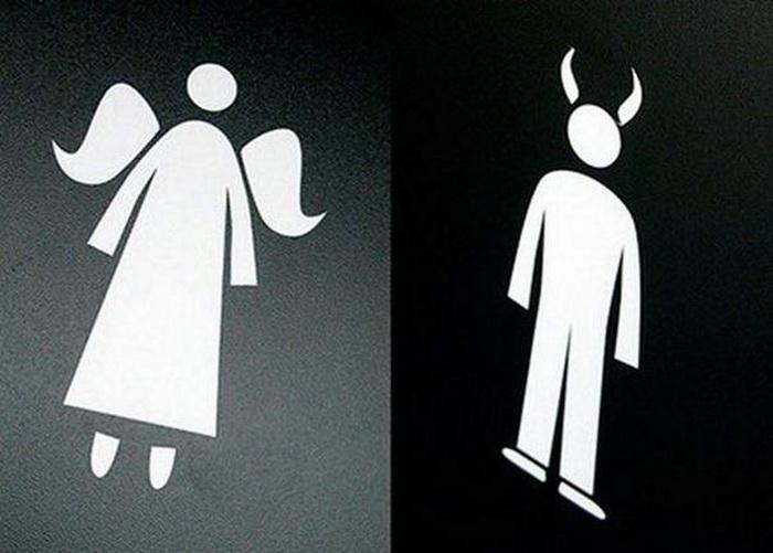 туалетная вывеска ангел + черт