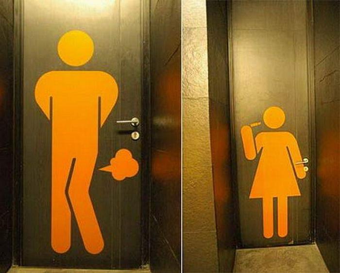 туалетная вывеска с пукающим человечком