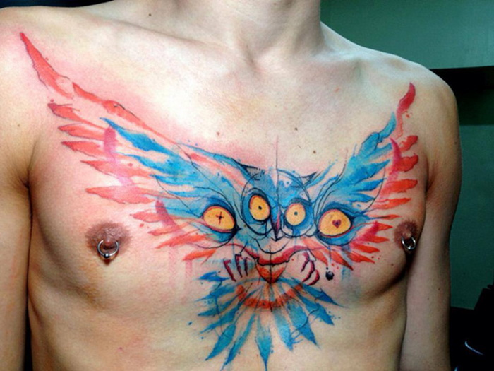 татуировки Victor Octaviano: брызги красок на человеческом теле