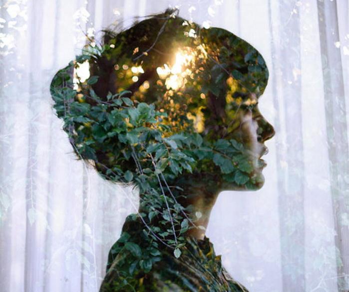 девушка на фоне природы: двойная экспозиция