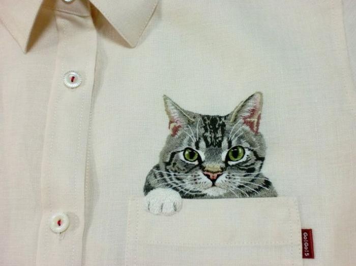 Рубашка с котиком вышивка