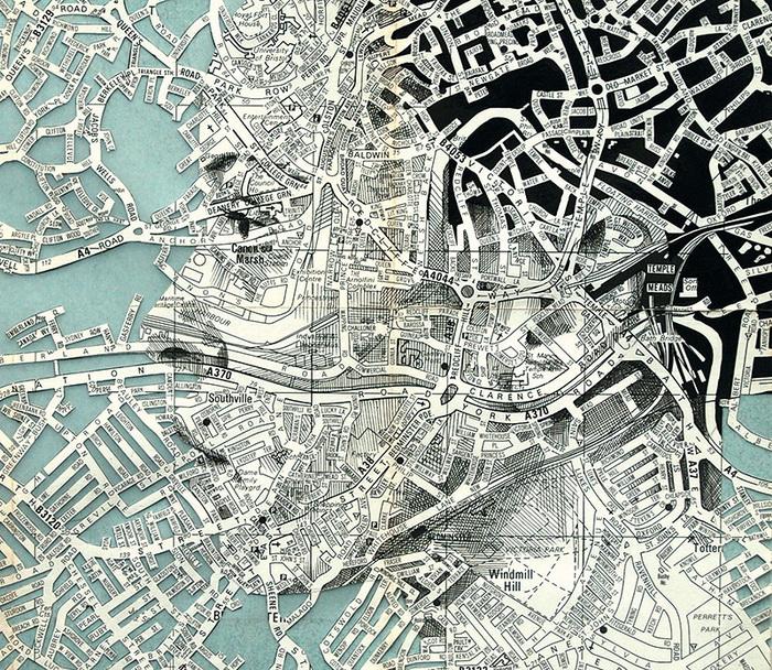 Оригинальный портрет из географических карт