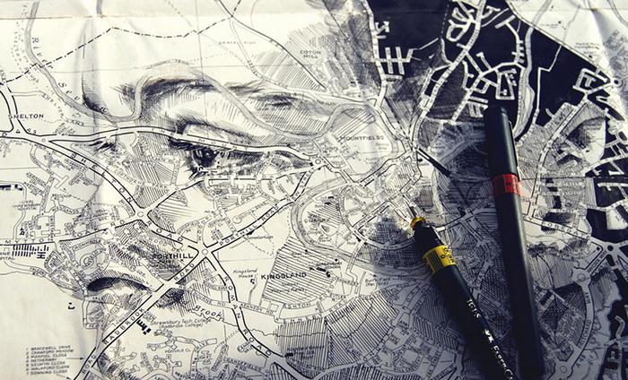 Портреты из географических карт