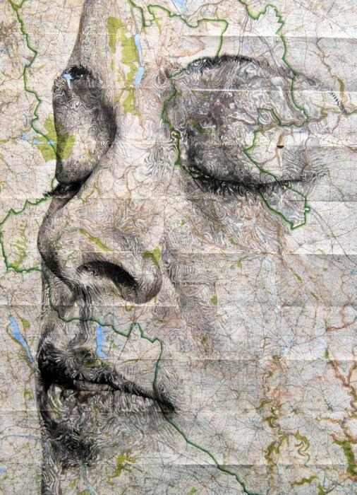 Коллекция портретов, созданных на основе географических карт