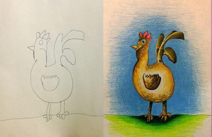 Coloring my kids art: рисуют дети