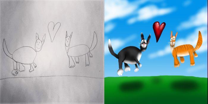 Coloring my kids art: раскрашено на планшете