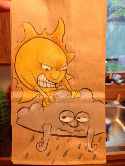 Ироничные рисунки на пакете для завтраков.