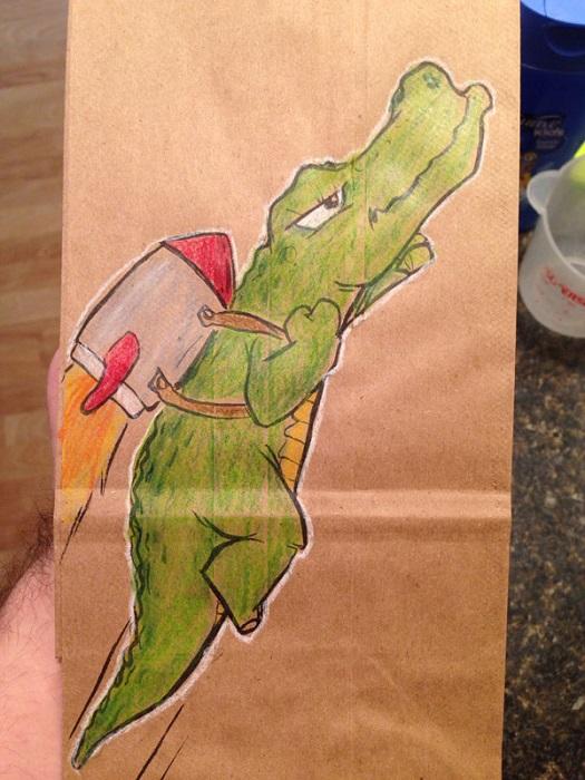Разрисованные пакеты для завтрака.