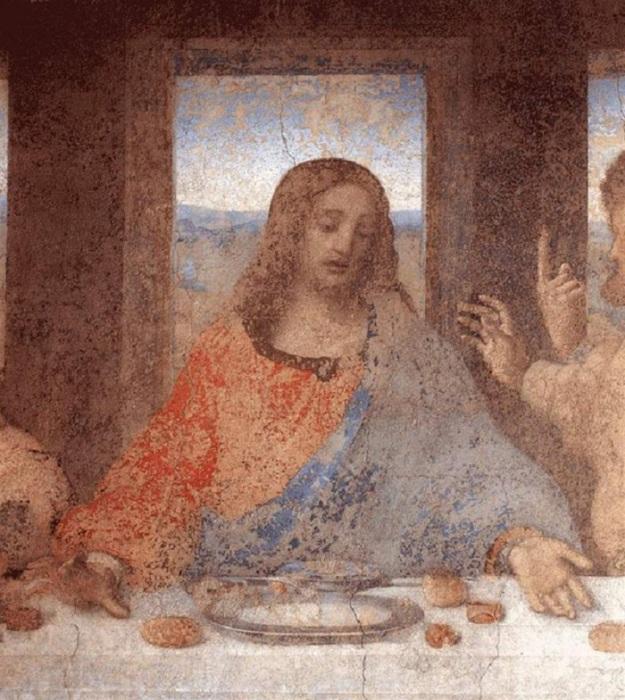 Иисус на фреске Тайная вечеря.