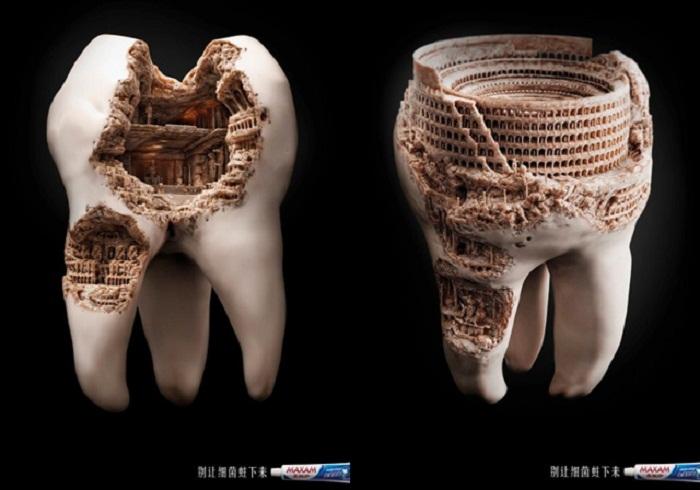 Оригинальная реклама зубной пасты.