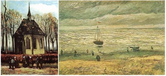 Похищенные картины Ван Гога - Церковь в Ньюнене и Вид моря в Шевинген.