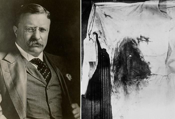 Теодор Рузвельт и его рубашка, в которой он был в день покушения