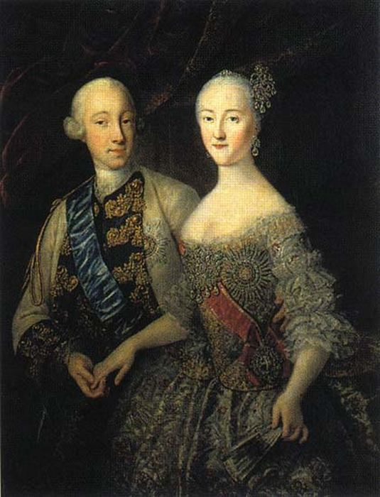 Пётр и Екатерина: совместный портрет работы Г.К.Гроота.