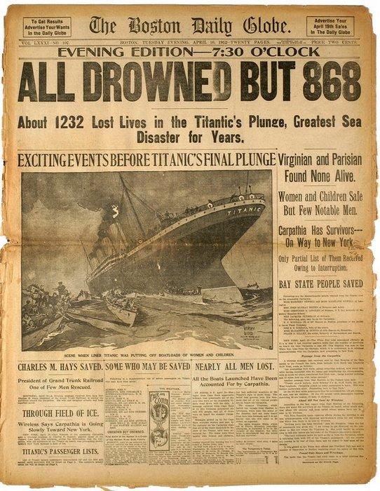 Газетная публикация о гибели Титаника.