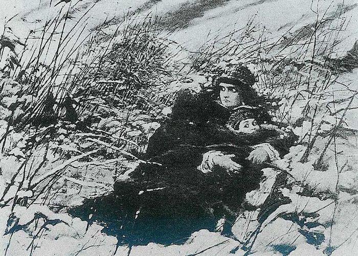 Л.Вычолковский. Марина Мнишек с сыном Иваном на острове на реке Яик.