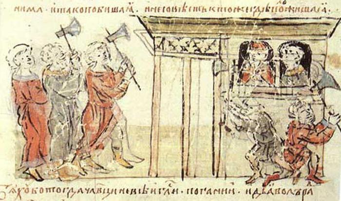 Летописи о палачах. Убийство Феодора Варяга и сына его Иоанна. Радзивиловская летопись. Конец XV в.