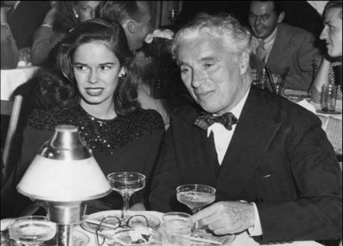 Charlie Chaplin e sua esposa Una.