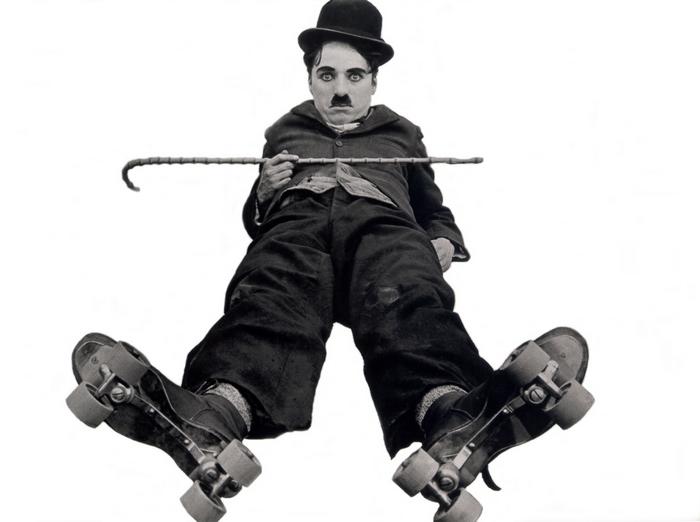 O grande comediante Charlie Chaplin.