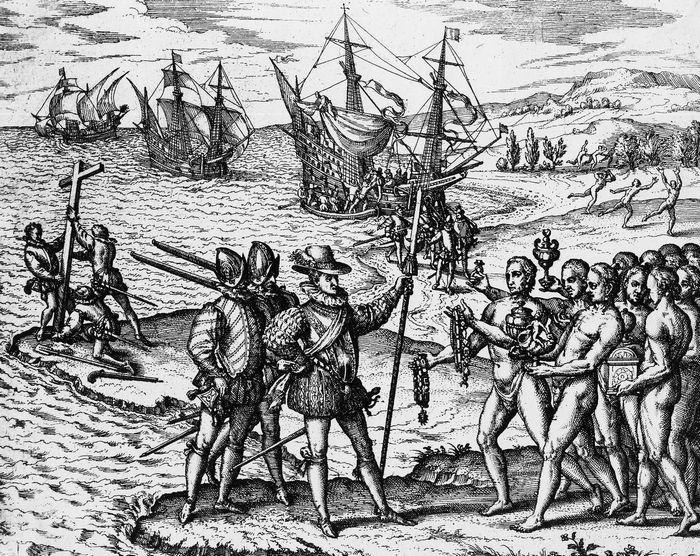 Высадка экспедиции Христофора Колумба на Эспаньоле в 1492 году.